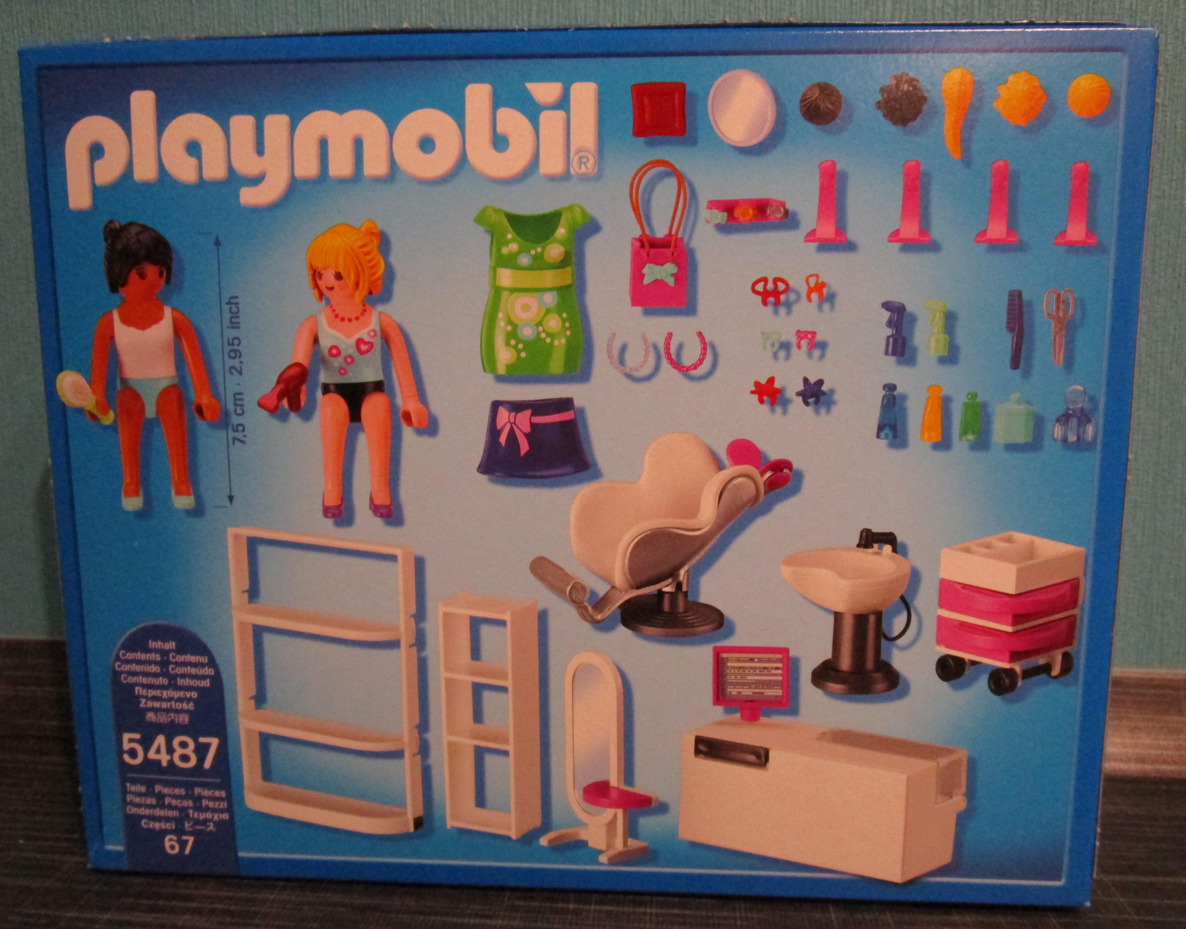 Playmobil 5487 Beauty Salon Verpackung hinten Playmobil Spielzeug im Vergleich: Friseursalon 4413 vs. Beauty Salon 5487   Rollenspiel Waschen, schneiden, fönen   bitte