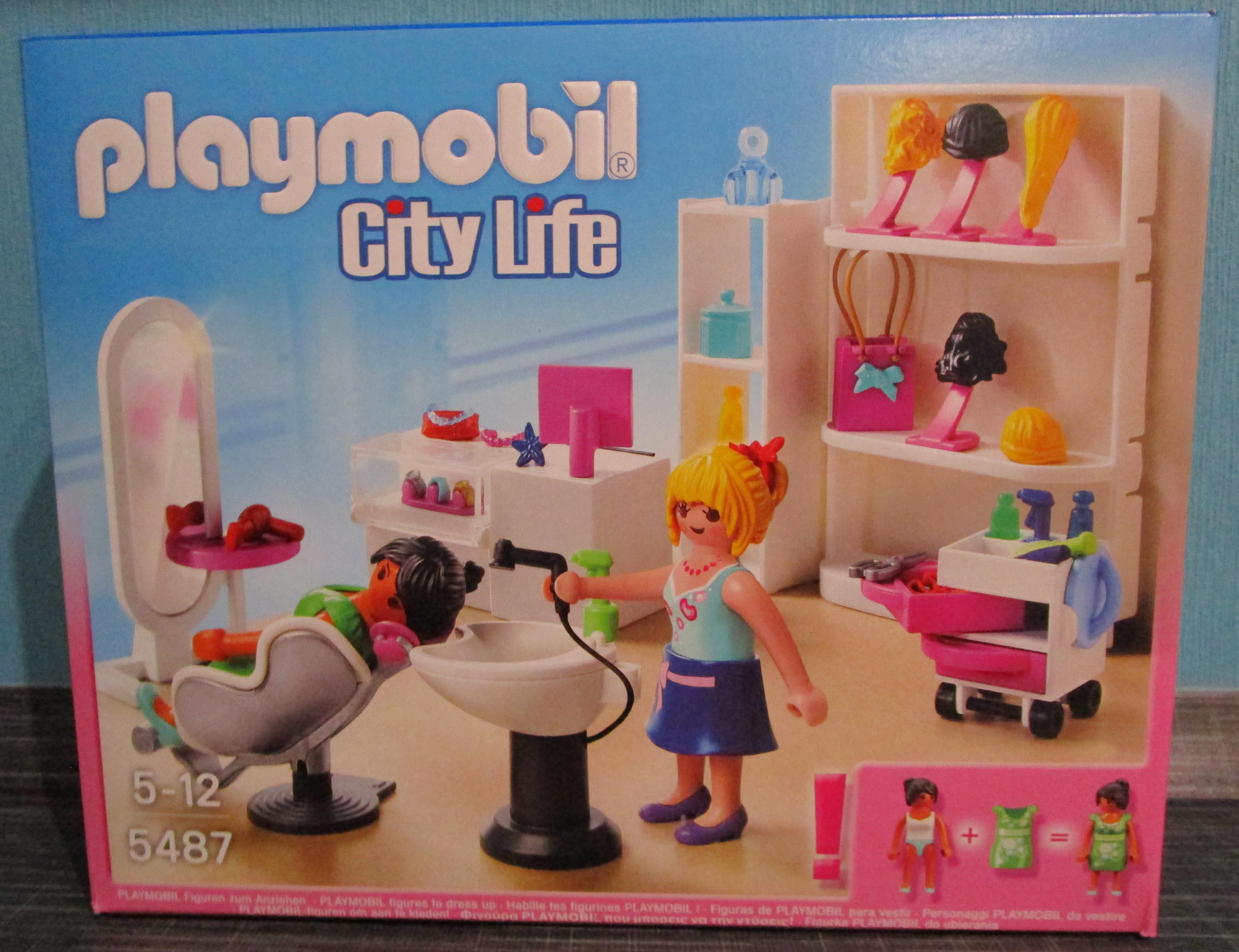 Playmobil 5487 Friseur Verpackung vorne Playmobil Spielzeug im Vergleich: Friseursalon 4413 vs. Beauty Salon 5487   Rollenspiel Waschen, schneiden, fönen   bitte