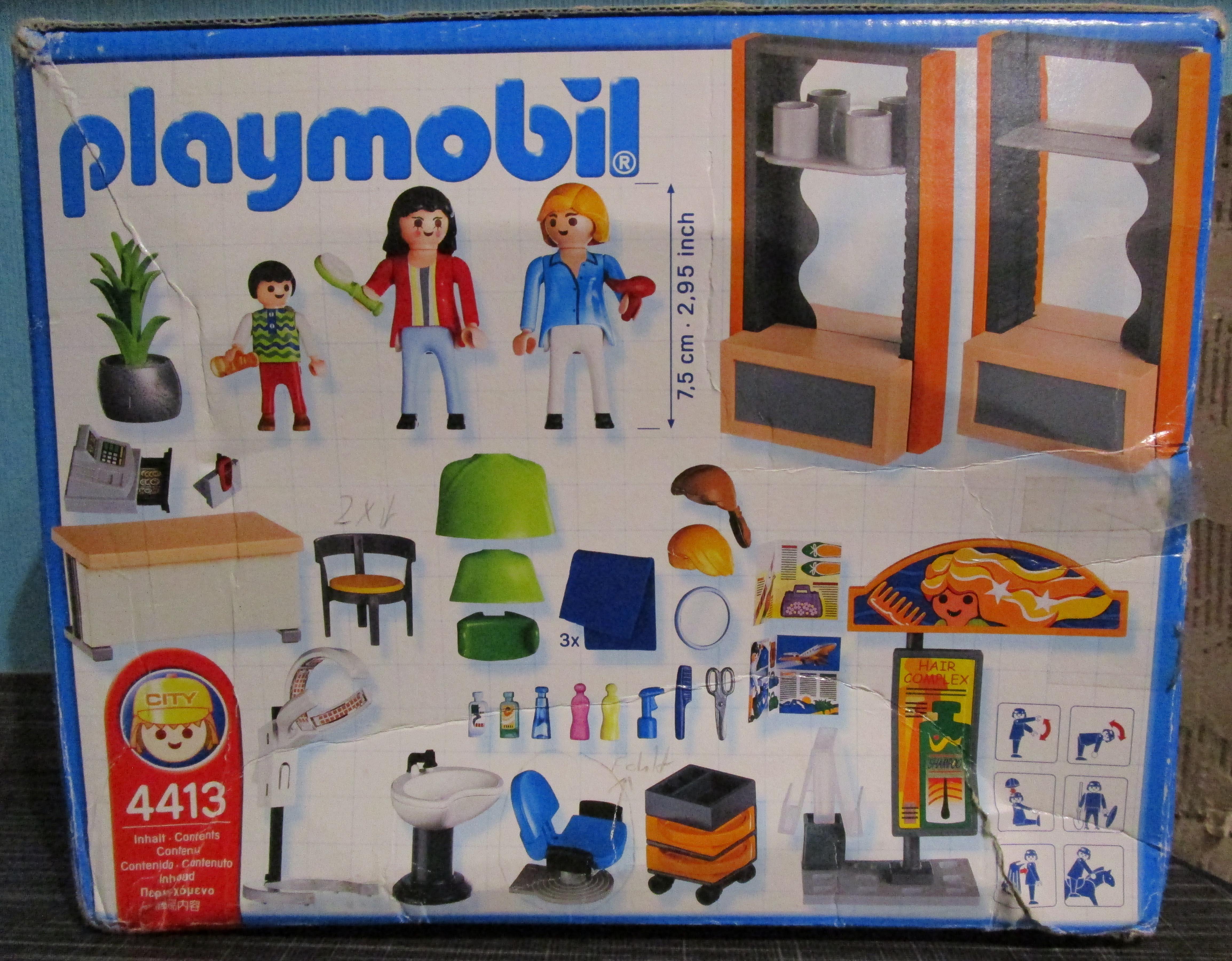 playmobil 4413 Friseursalon Verpackung hinten Playmobil Spielzeug im Vergleich: Friseursalon 4413 vs. Beauty Salon 5487   Rollenspiel Waschen, schneiden, fönen   bitte